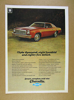 1976 Chevrolet Chevy Chevelle Malibu Coupe Six red car photo vintage print Ad