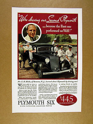 1933 Plymouth Six 6 black car color photo vintage print Ad