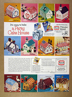 1956 Party Cake House holiday birthday wedding cakes Alumode Molds print Ad