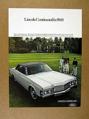 1969 Lincoln Continental white car family house dog photo vintage print Ad