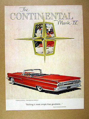1959 Lincoln Continental Mark IV red convertible car art vintage print Ad