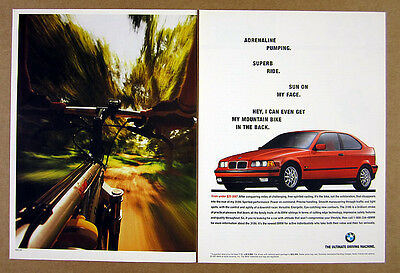 1995 BMW 318ti 318 ti red car photo vintage print Ad