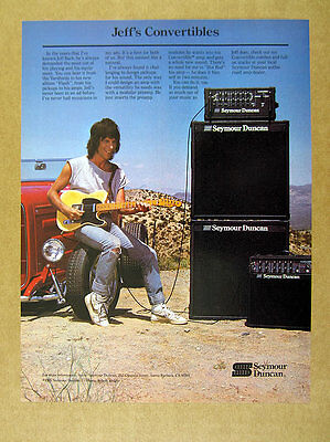 1987 Jeff Beck photo Seymour Duncan Amplifiers guitar amp vintage print Ad