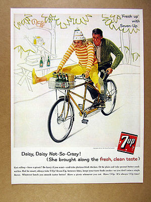 1961 7-Up 7Up Soda couple riding tandem bicycle bike photo vintage print Ad