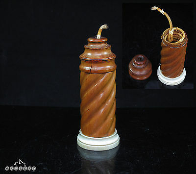 Antique Treen Boxwood Candle Form Wax Jack / Bougie Box RARE