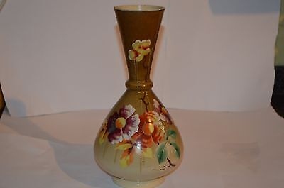 Victorian Hand Painted With Flowers Glass Vase