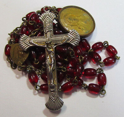 "† Unusual Ant ""sacred Heart"" Gold Washed  Red Rosary W/ 18K Medal †"