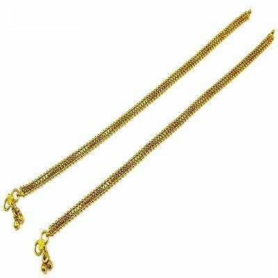 Indian Ethnic Bollywood Flat Chain Anklet Payal pair Gold Plated with Soft Bells