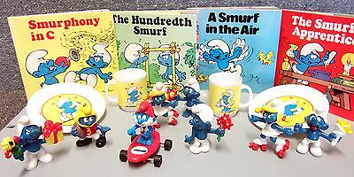 Smurfs Lot Schleich 8 Figures 4 Random House Books 2 Cups & Saucers From Italy
