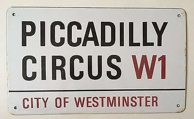 1960s Piccadilly Circus London Street Sign Porcelain Enamel Authentic Vintage VG