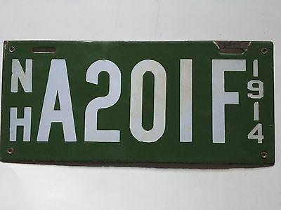 1914 New Hampshire License Plate DEALER VG Glossy Nice!! 100% All Original Rare!