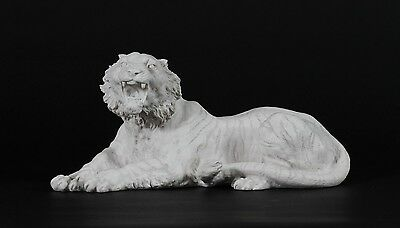 Marble Sculpture of a Tiger, after Barye. Art, Gift, Ornament.