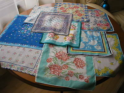 Lot of Vintage Cotton Floral Print Hankies /3 Designer Signed Handkerchiefs