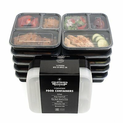 10 Meal Prep Food Storage Containers 3 Compartment Reusable Plastic Bento Lunch