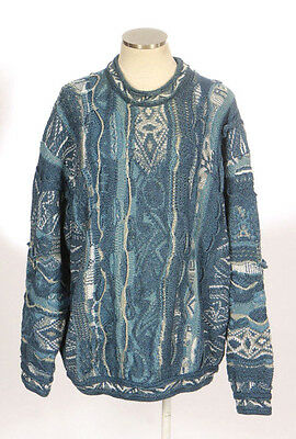 Vintage 90s COOGI BLUES Blue Chunky Cotton Cosby Textured Knit Sweater Mens XL