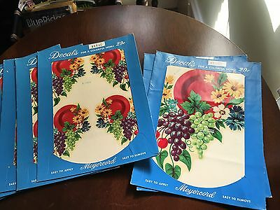 Vintage Meyercord Decals Kitchen Fruit Grapes Flowers Red Set 8 Sheets