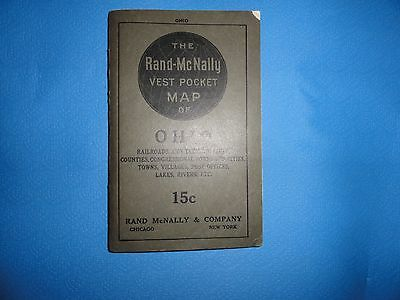 Antique Scarce The Rand McNally Road Map 1916 Vest Pocket of Ohio Historical