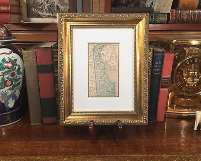 Framed Original 1887 Antique Map DELAWARE Wilmington Newark Middletown Dover DE