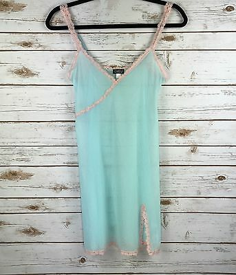 Cosabella Sheer Blue And Pink Lace Trim Camisole Size Large Made In Italy