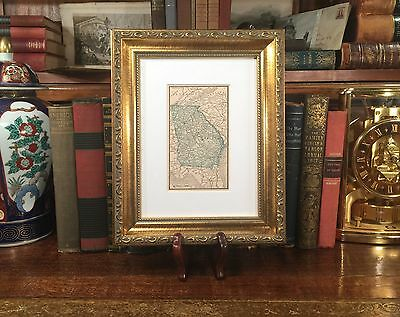 Framed 1887 Original Antique Map GEORGIA Savannah Columbus Athens Macon Rome GA