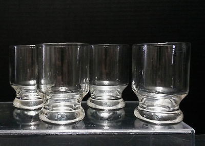 Vintage Set of 4 Footed Shot Glasses Whiskey Liquor Barware Clear Glass