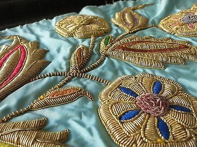"GORGEOUS Antique ZARDOSI Hand Embroidery Dense Stumpwork 18"" Applique on Silk #1"