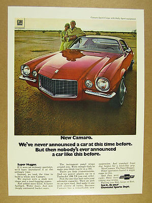 1970 Chevrolet Camaro Sport Coupe red car photo vintage print Ad
