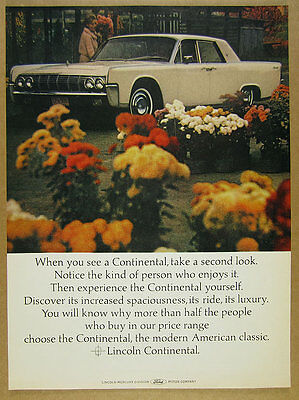 1964 Lincoln Continental Sedan flower shop car photo vintage print Ad