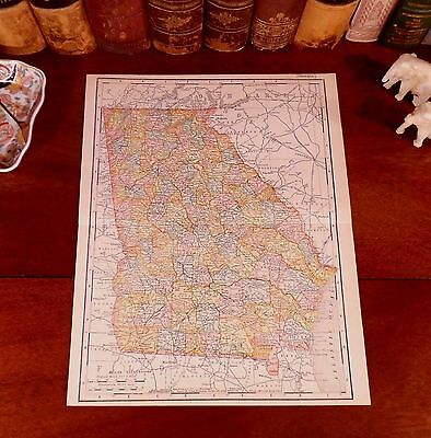 Original 1904 Antique Map GEORGIA Savannah Augusta Columbus Athens Macon Rome GA