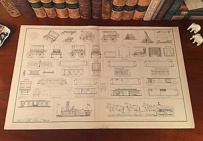 Original Antique Civil War WAGONS STEAMERS TENTS RAILROAD CARS Lithograph Print