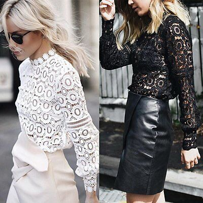Stylish Ladies Lace Hollow Tops Hight Collar Long Sleeve T-shirt Blouse Pullover