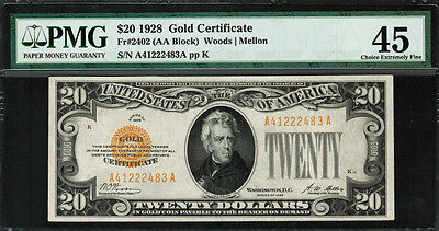 1928 $20 Gold Certificate FR-2402 - PMG 45 - Choice Extremely Fine