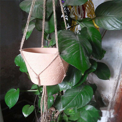Handcrafted Braided Macrame Jute Twine Plant Hanger Pot Hanging Basket Holder N