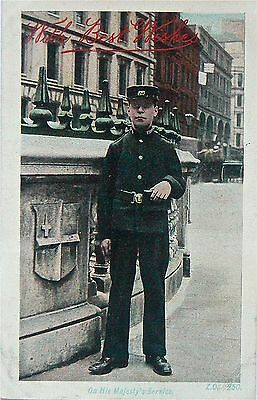 POSTCARD-EARLY OFFICER.'ON HIS MAJESTY'S SERVICE'.LONDON EARLY 1900's.