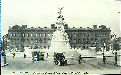 Topographical Postcard.buckingham Palace & Memorial.great Cars.early Card