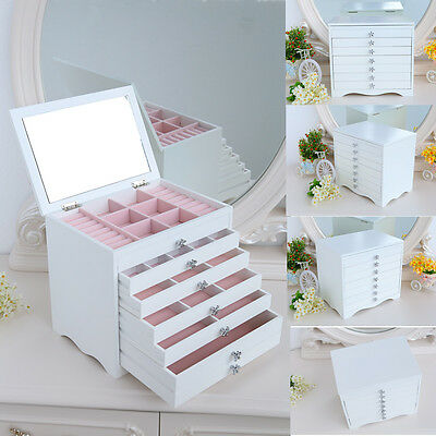 Large Wooden Jewellery Box Drawer Case/Cabinet With Mirror Perfect Gift White