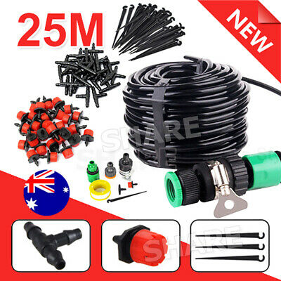 25M DIY Micro Drip Irrigation System Auto Plant Self Watering Garden Hose Kits