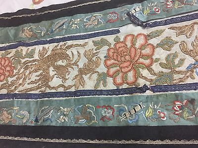 Antique Chinese Rare Hand Embroidered Forbidden Stitched Dynasty's Textile Wall