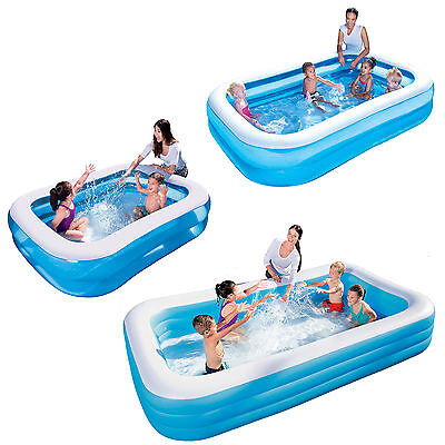 Bestway Deluxe Blue Rectangular Inflatable Family Swimming Pool in three sizes