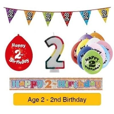 AGE 2 - Happy 2nd Birthday Party Banners, Balloons & Decorations