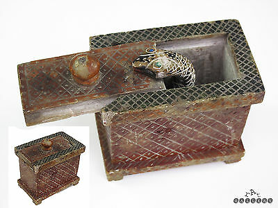Antique Carved Soapstone Surprise Snake In The Box c.1900