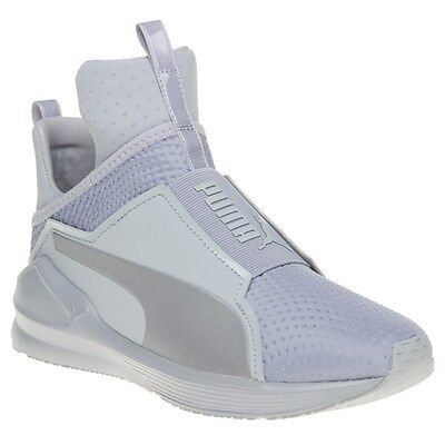 New Womens Puma Grey Fierce Quilted Textile Trainers Hi Top Elasticated  Pull On abded4b46