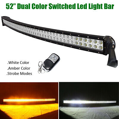 Dual Colors Amber/White/Strobe 52 inch 600W Led Curved Light Bar Offroad Trucks