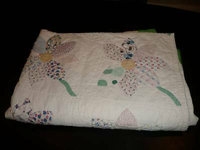 Vintage Hand Stitched Flower Floral Applique Quilt Feed Sack Fabric Petals