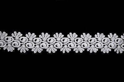 """Unotrim 0.75/"""" Ivory /& White Small Daisy Flower Venice Floral Lace Trim by Yard"""