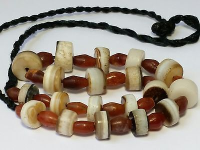 A Beautiful Necklace Of Ancient Indo-Tibetan Disk Agate & Bicone Carnelian Beads