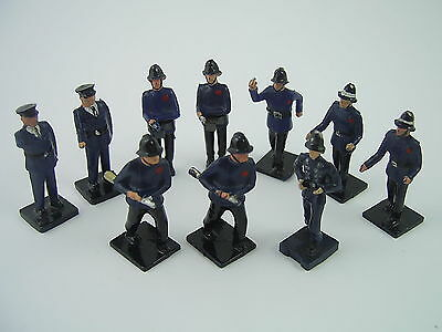 9 Vintage Dinky Toys Plastic Firemen Figures from 008 Fire Station Personnel Set