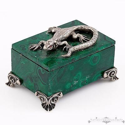 Antique Vintage Sterling 84 Silver Russian Malachite Lizard Jewelry Casket Box