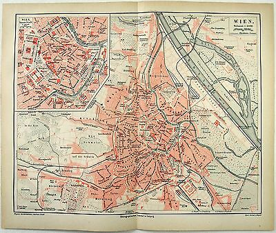 Original 1878 City Map / Plan of Vienna, Austria - Wein