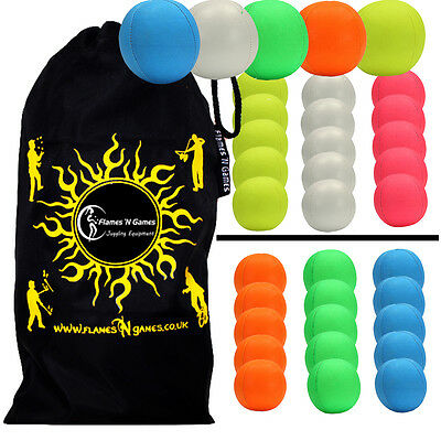 5x SMOOTHIE (UV) Professional LEATHER THUD Juggling Ball - Set of 5 Balls + Bag!
